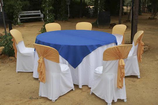 mantel blanco cubremantel azul fundas blancas